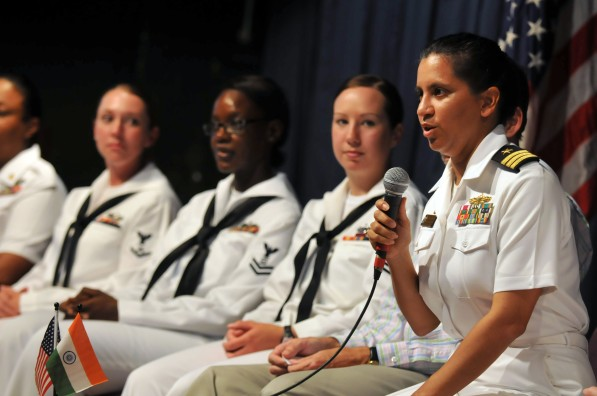 110317-N-9818V-445 CHENNAI, India (March 17, 2011) Cmdr. Shanti Sethi, commanding officer of the Arleigh Burke-class guided-missile destroyer USS Decatur (DDG 73) answers questions from female students from various city colleges and high schools during an event to commemorate Women's History Month while Decatur is in Chennai, India, for a port visit. Sethi and eight female Sailors from Decatur participated in the event with students from various Chennai colleges and high schools. Decator is on a deployment to the U.S. 7th Fleet area of responsibility. (U.S. Navy photo by Mass Communication Specialist 1st Class Jennifer A. Villalovos/Released)