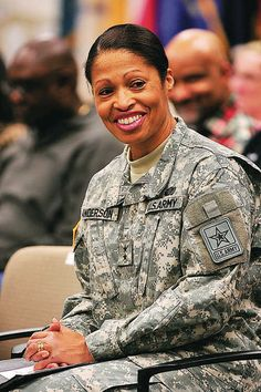 U.S. Army Major General Marcia Anderson acknowledges her audience while being introduced Friday at a Black History Month observance at Letterkenny Army Depot.