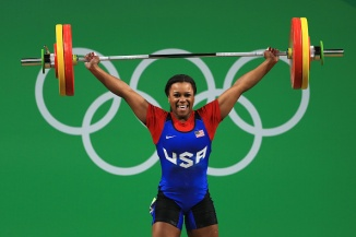 RIO DE JANEIRO, BRAZIL - AUGUST 12: Jenny Lyvette Arthur of the United States in action during the Weightlifting - Women's 75kg Group A on Day 7 of the Rio 2016 Olympic Games at Riocentro - Pavilion 2 on August 12, 2016 in Rio de Janeiro, Brazil. (Photo by Mike Ehrmann/Getty Images)