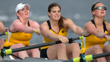 Iowa Women's Rowing's V8 boat competes during their home regatta against Indiana, Ohio State, and Louisville Saturday, April 12, 2014 at Lake MacBride. (Brian Ray/hawkeyesports.com)