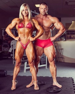 Muscle woman and man