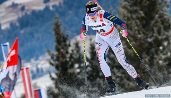 TOBLACH, ITALY - JANUARY 8: (FRANCE OUT) Jessica Diggins of the USA takes 1st place during the FIS Nordic World Cup Men's and Women's Cross Country Tour de Ski on January 8, 2016 in Toblach Hochpustertal, Italy. (Photo by Stanko Gruden/Agence Zoom/Getty Images)