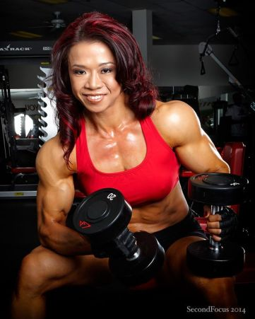 Joan Liew from Singapore at the Power of Fitness Gym in Palm Desert California.