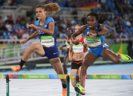 Aug 15, 2016; Rio de Janeiro, Brazil; Sydney McLaughlin (USA) competes in the women's 400m hurdles heat during track and field competition in the Rio 2016 Summer Olympic Games at Estadio Olimpico Joao Havelange. Mandatory Credit: Kirby Lee-USA TODAY Sports