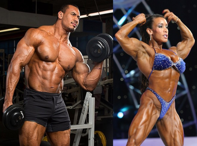 Strong woman and man copy